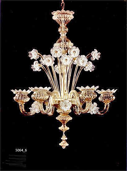 Kroonluchter Murano Amber Gold